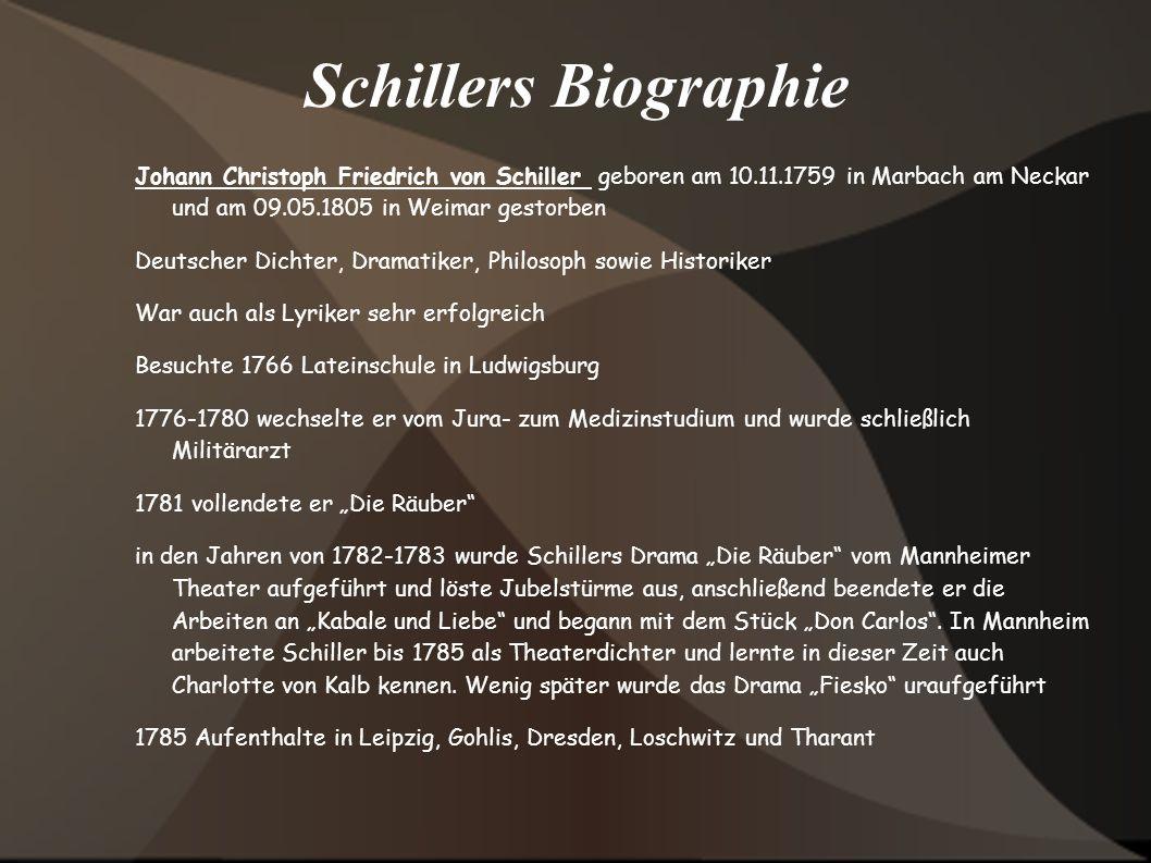 Schillers BiographieJohann Christoph Friedrich von Schiller geboren am 10.11.1759 in Marbach am Neckar und am 09.05.1805 in Weimar gestorben.