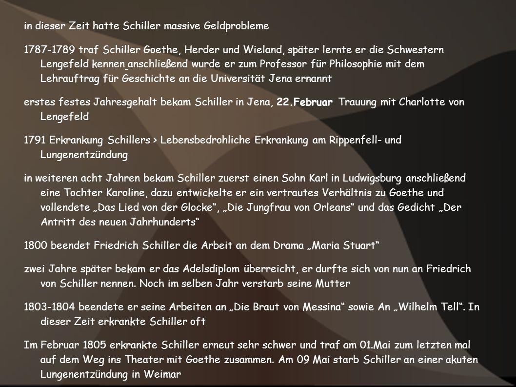 in dieser Zeit hatte Schiller massive Geldprobleme