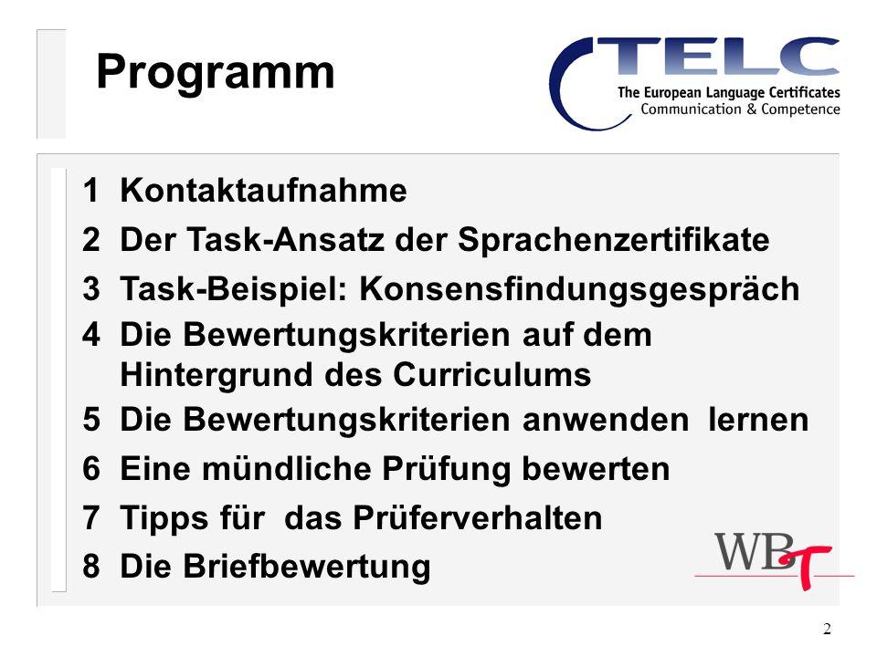 Programm 1 Kontaktaufnahme 2 Der Task-Ansatz der Sprachenzertifikate