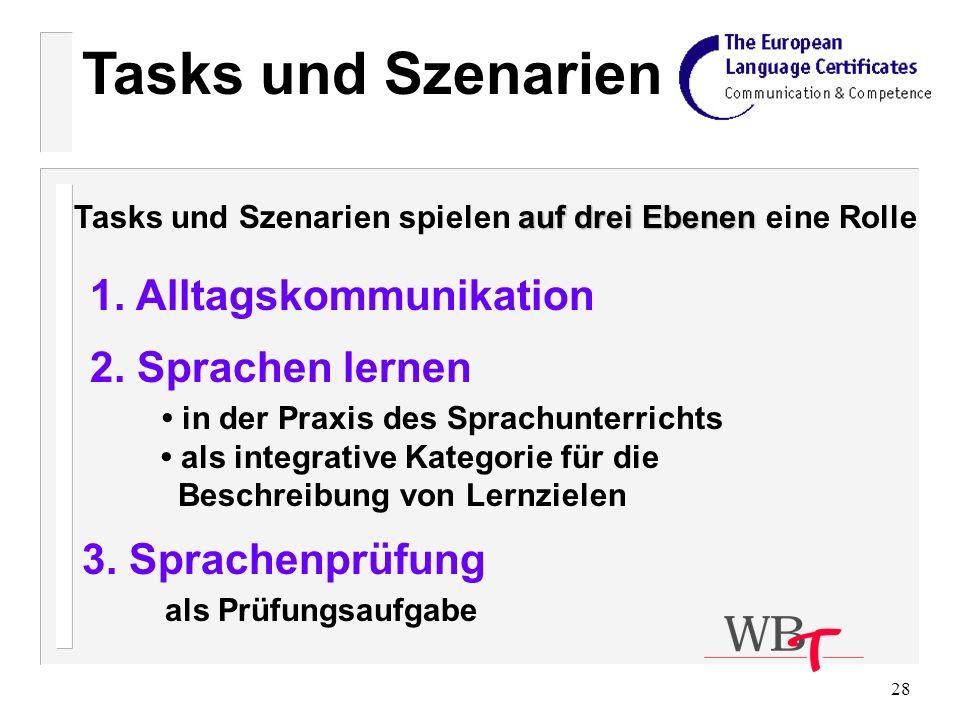 Tasks und Szenarien 1. Alltagskommunikation 2. Sprachen lernen