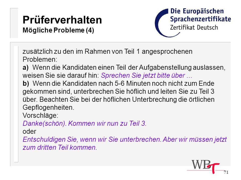Prüferverhalten Mögliche Probleme (4)
