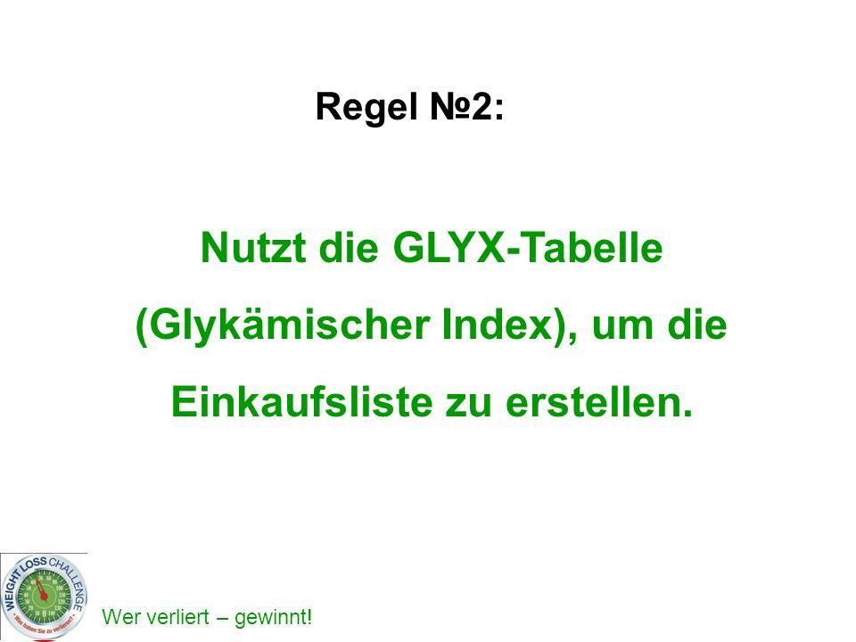 Nutzt die GLYX-Tabelle (Glykämischer Index), um die