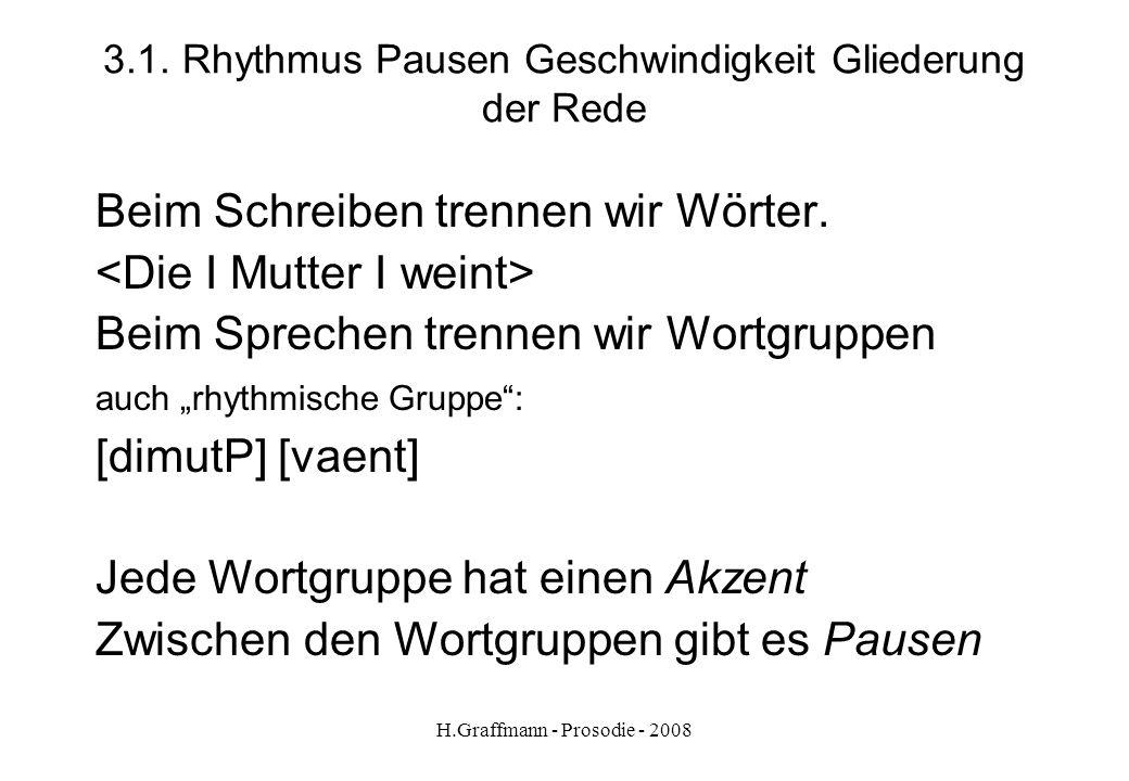 3.1. Rhythmus Pausen Geschwindigkeit Gliederung der Rede