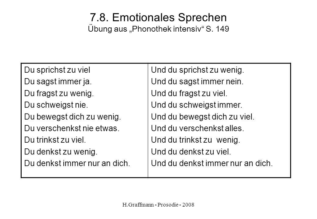 """7.8. Emotionales Sprechen Übung aus """"Phonothek intensiv S. 149"""