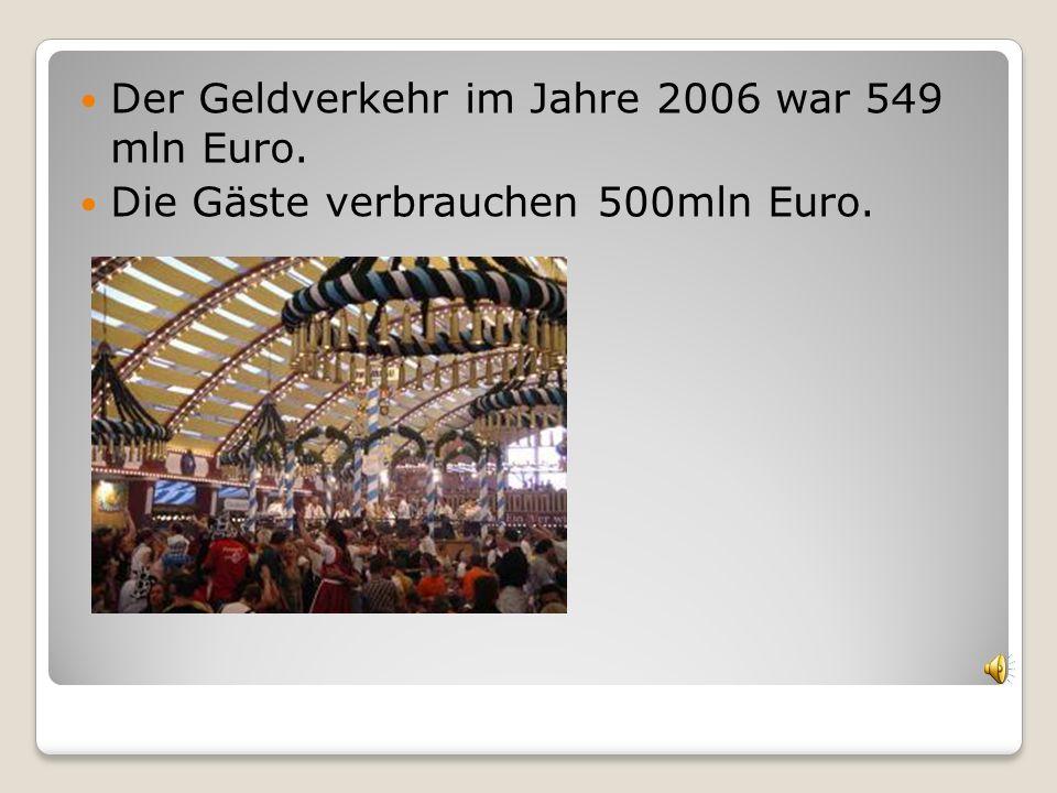 Der Geldverkehr im Jahre 2006 war 549 mln Euro.