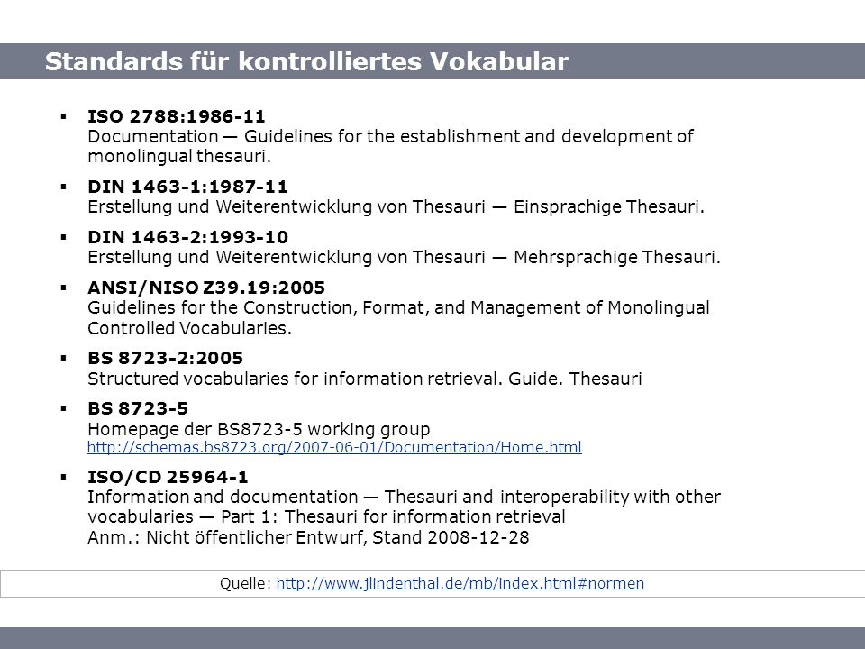 Standards für kontrolliertes Vokabular