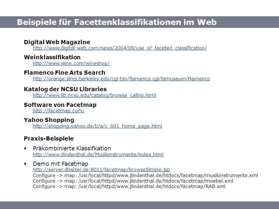 Quellen: Beispiele für Facettenklassifikationen