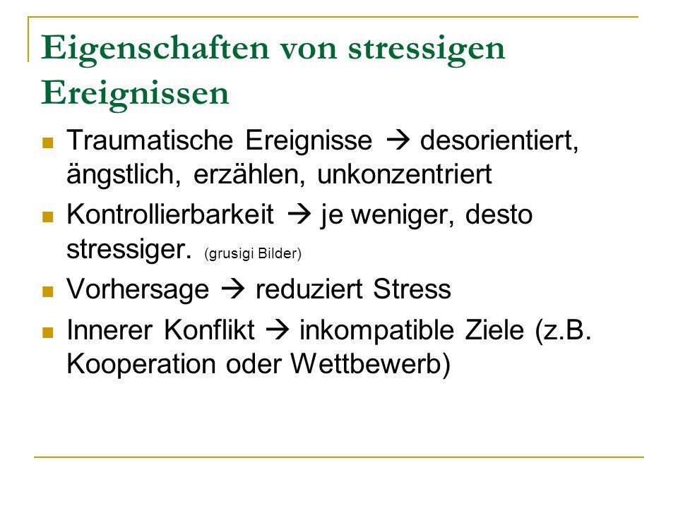 Eigenschaften von stressigen Ereignissen