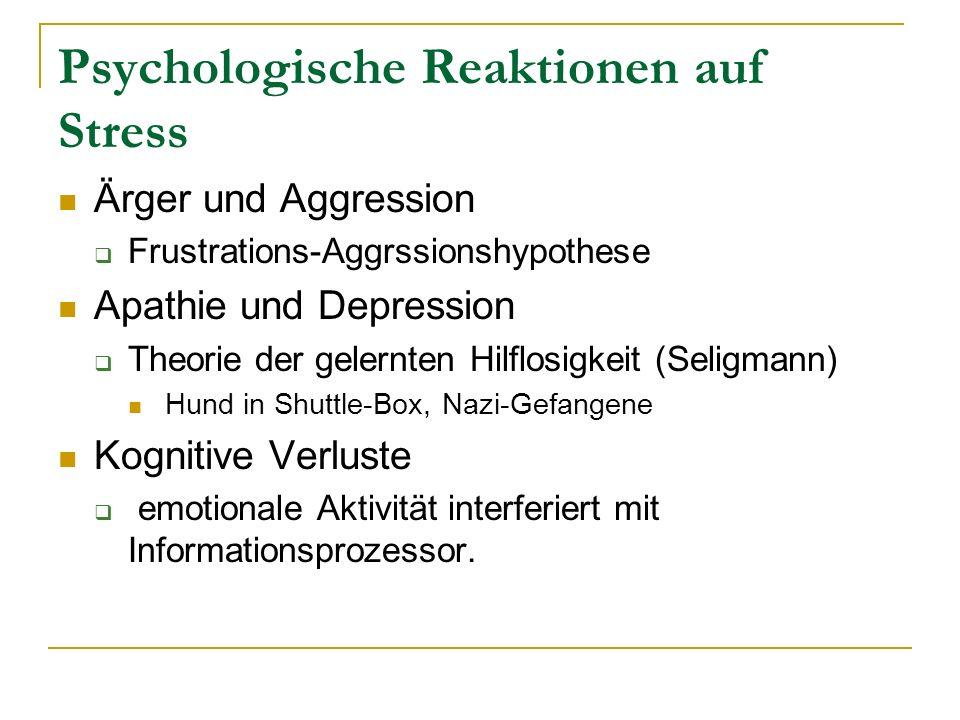 Psychologische Reaktionen auf Stress
