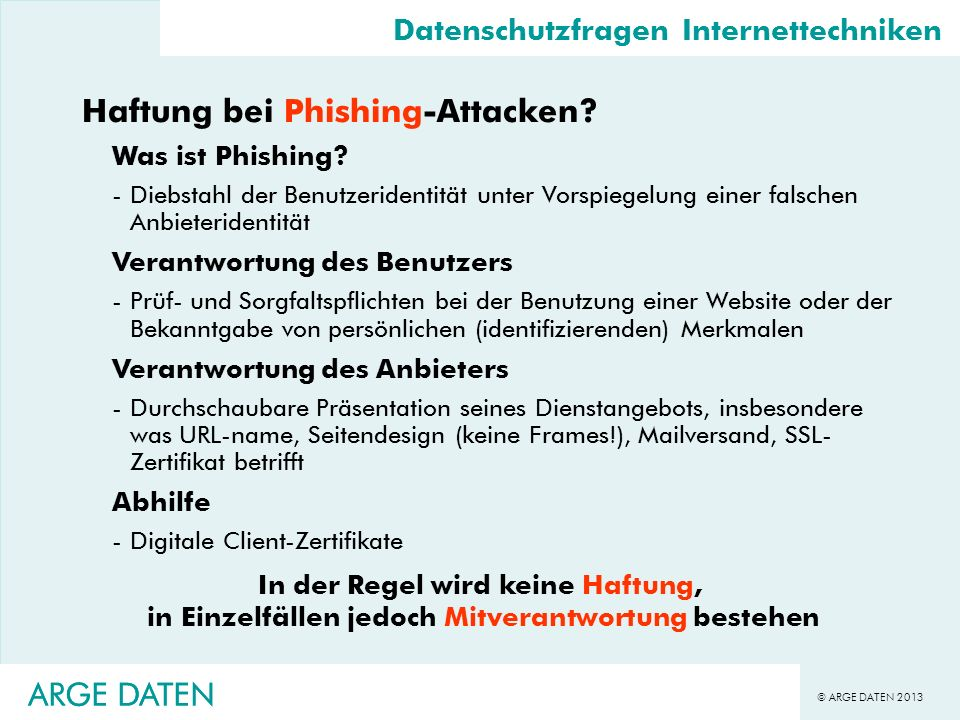 Haftung bei Phishing-Attacken