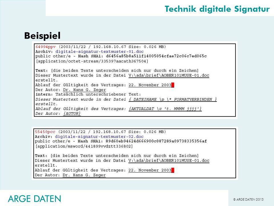 Beispiel ARGE DATEN ARGE DATEN Technik digitale Signatur