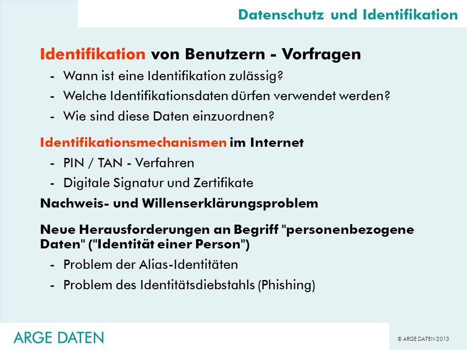 Identifikation von Benutzern - Vorfragen