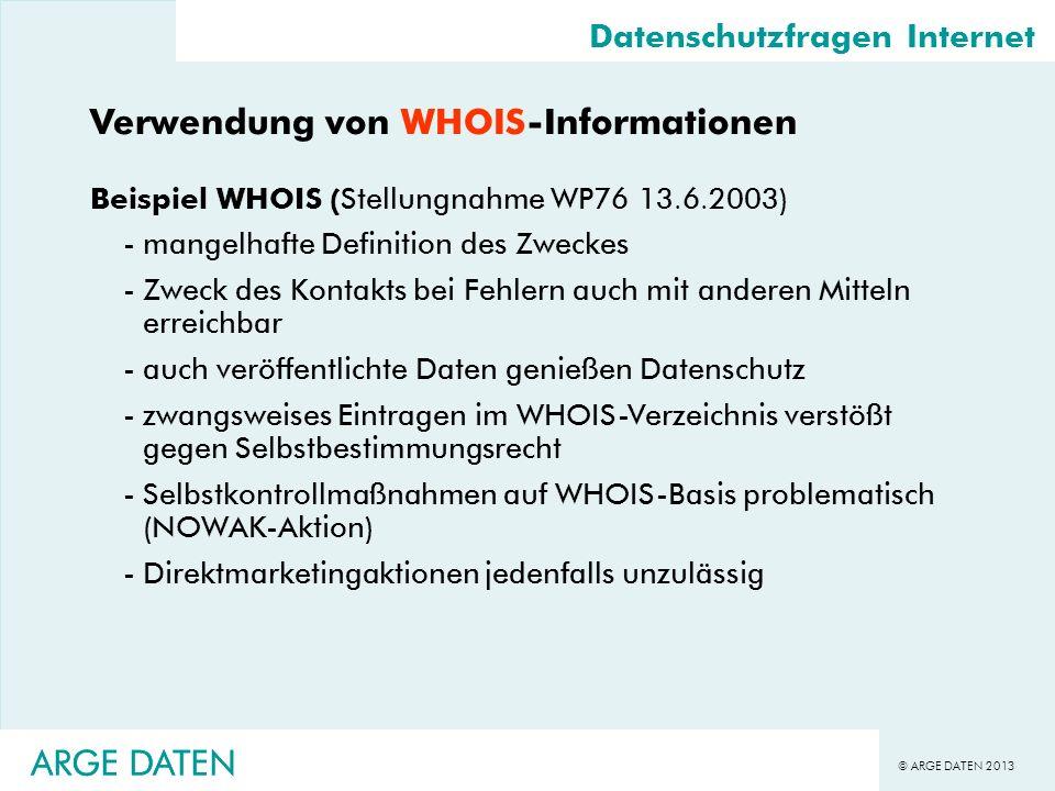 Verwendung von WHOIS-Informationen