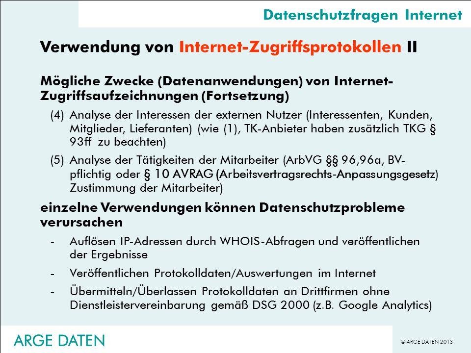 Verwendung von Internet-Zugriffsprotokollen II