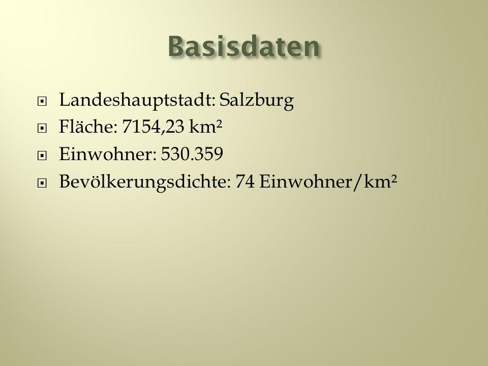 Basisdaten Landeshauptstadt: Salzburg Fläche: 7154,23 km²