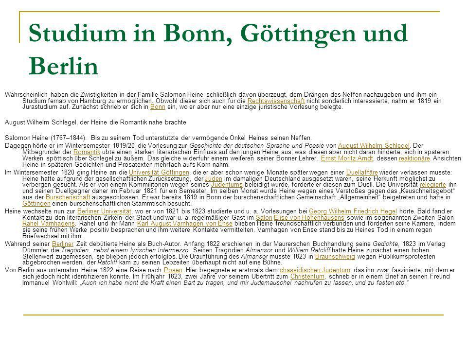Studium in Bonn, Göttingen und Berlin