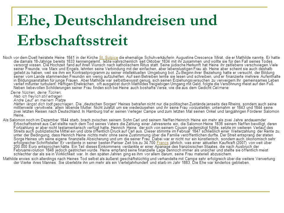 Ehe, Deutschlandreisen und Erbschaftsstreit