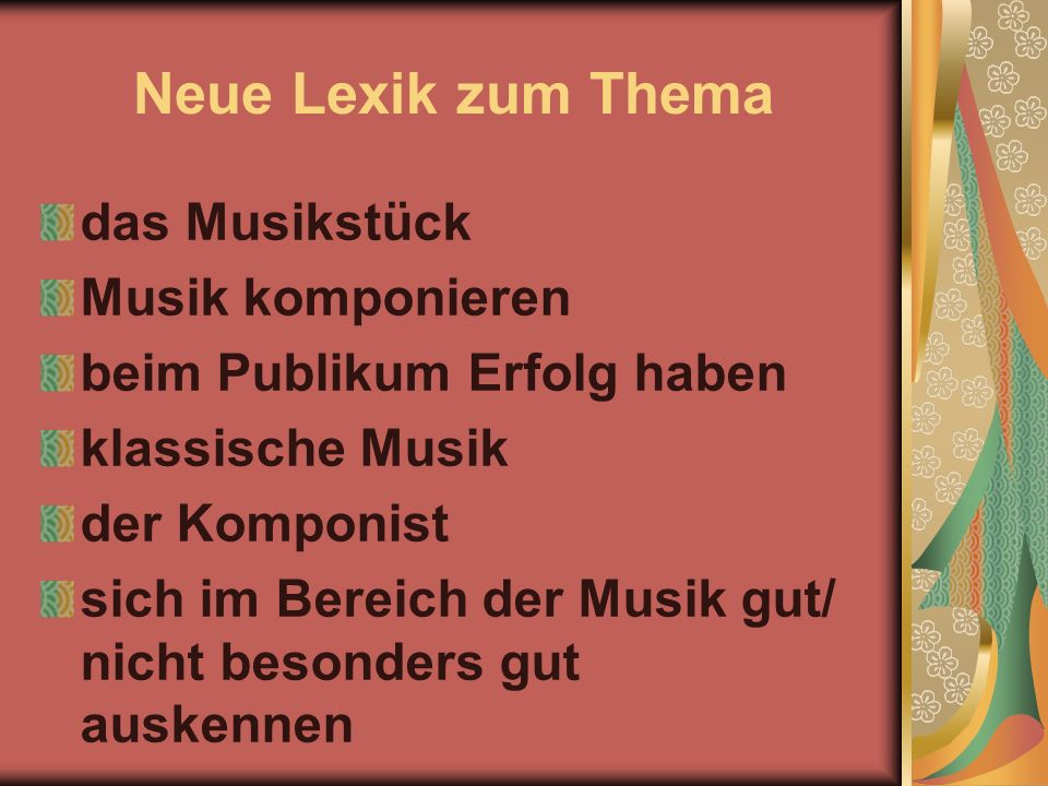 Neue Lexik zum Thema das Musikstück Musik komponieren