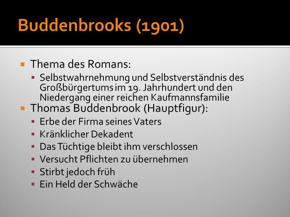 Buddenbrooks (1901) Thema des Romans: Thomas Buddenbrook (Hauptfigur):