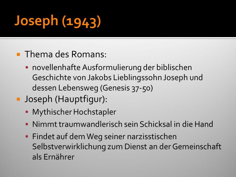 Joseph (1943) Thema des Romans: Joseph (Hauptfigur):