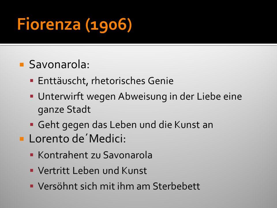 Fiorenza (1906) Savonarola: Lorento de´Medici: