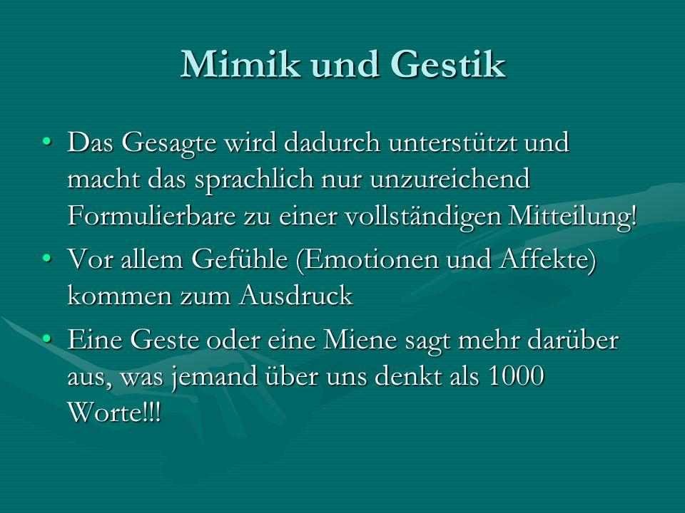Mimik und GestikDas Gesagte wird dadurch unterstützt und macht das sprachlich nur unzureichend Formulierbare zu einer vollständigen Mitteilung!