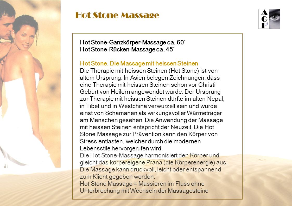 Hot Stone Massage Hot Stone-Ganzkörper-Massage ca. 60`