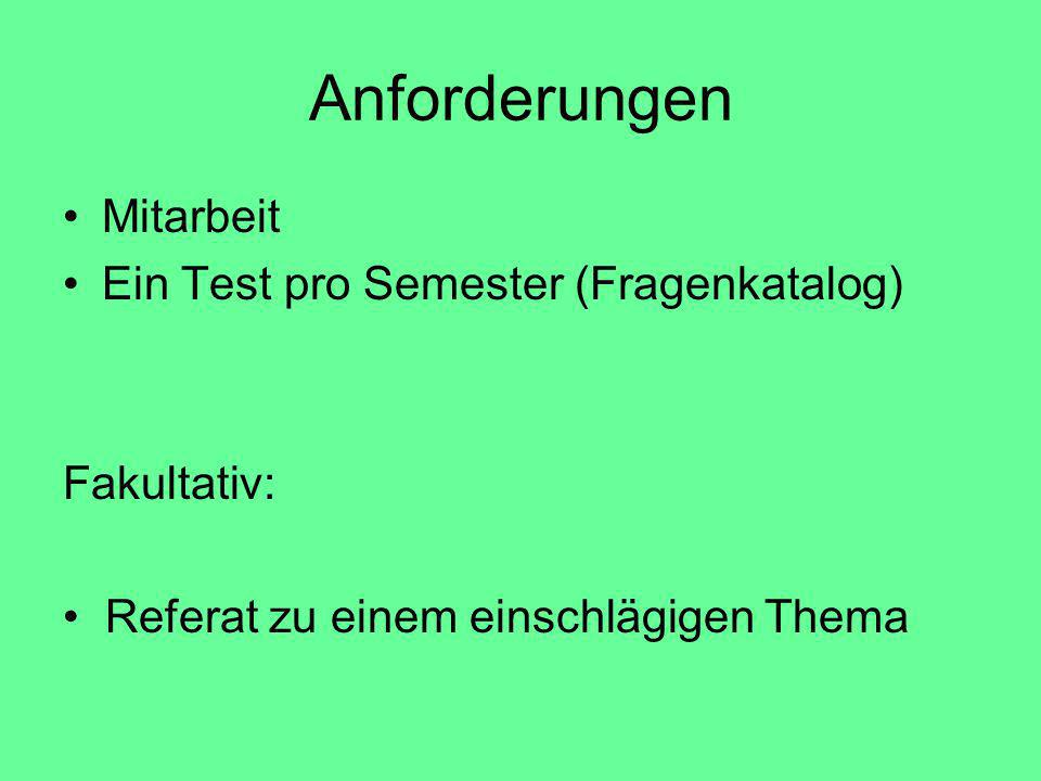 Anforderungen Mitarbeit Ein Test pro Semester (Fragenkatalog)