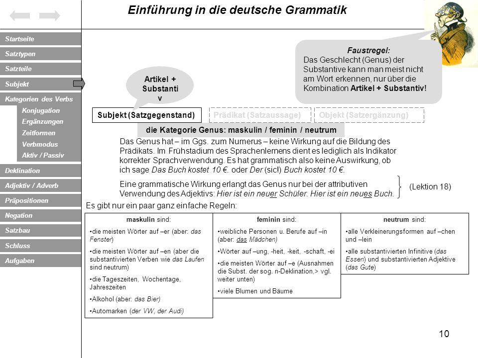 die Kategorie Genus: maskulin / feminin / neutrum