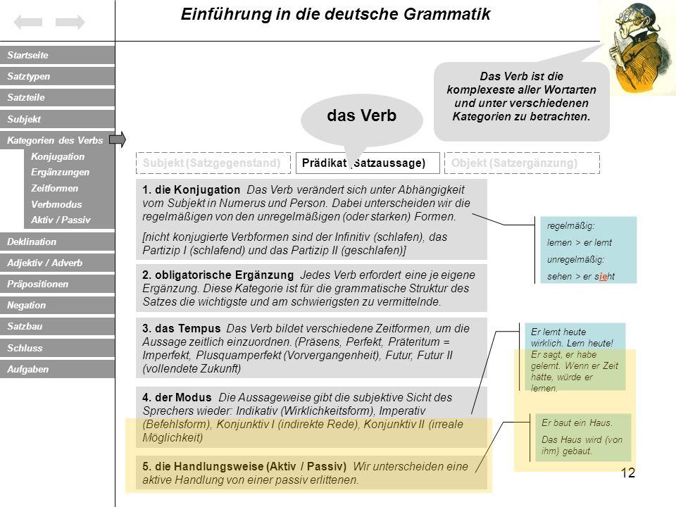 Das Verb ist die komplexeste aller Wortarten und unter verschiedenen Kategorien zu betrachten.