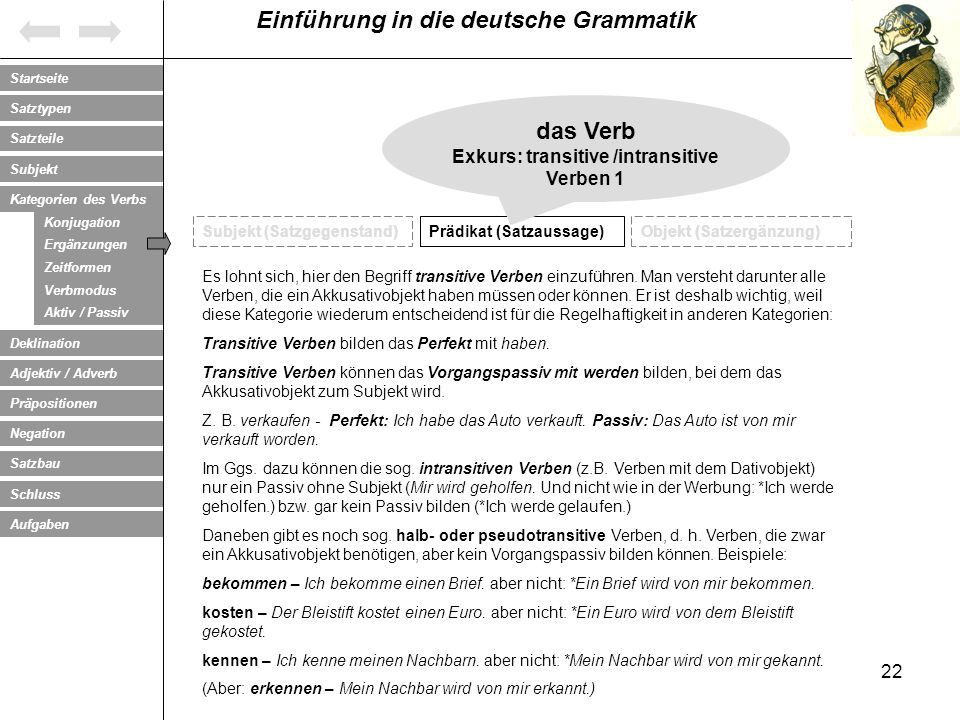 Exkurs: transitive /intransitive Verben 1