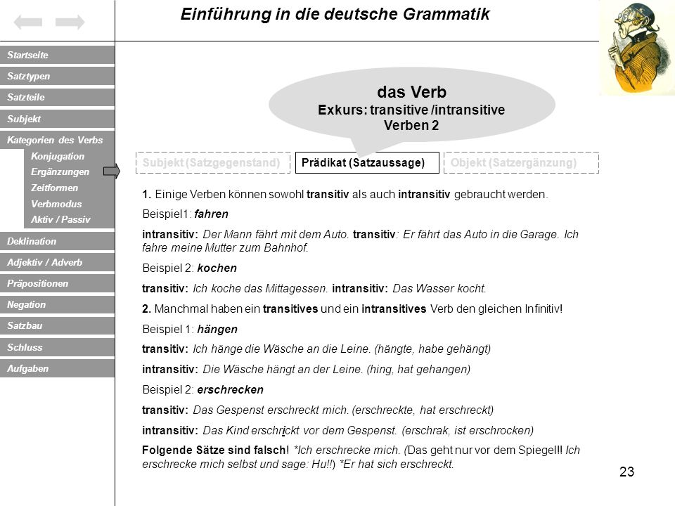 Exkurs: transitive /intransitive Verben 2