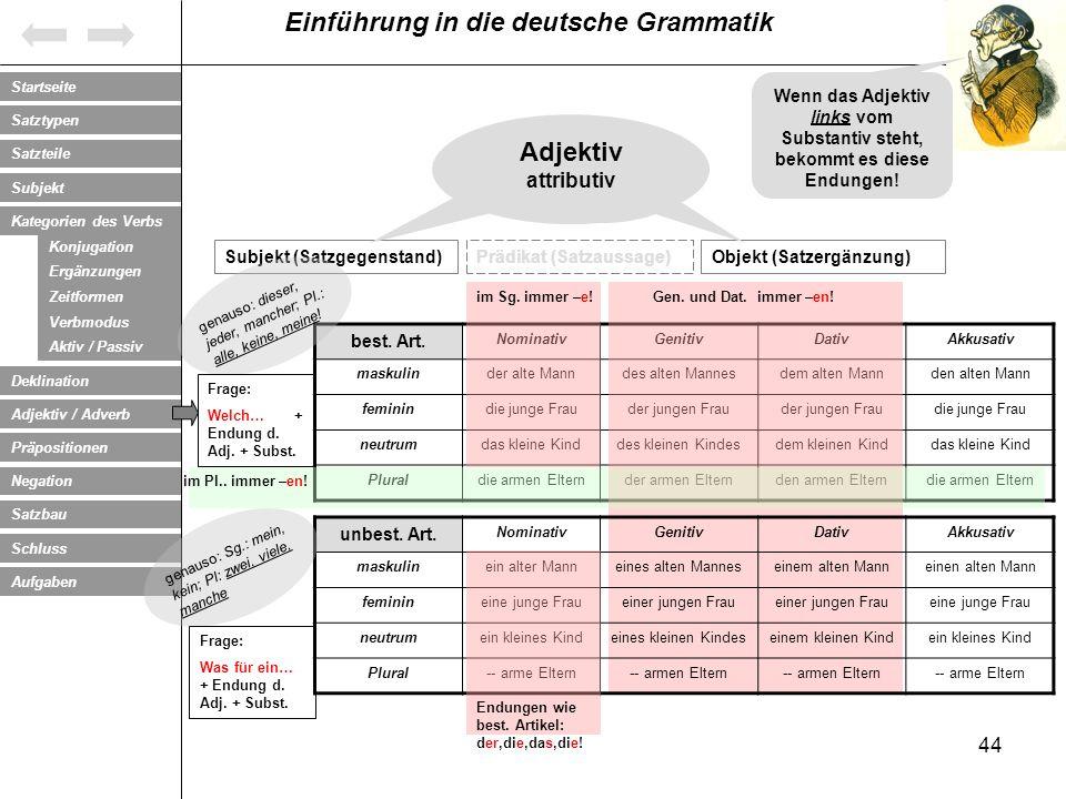 Wenn das Adjektiv links vom Substantiv steht, bekommt es diese Endungen!