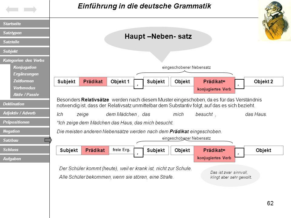 Haupt –Neben- satz Subjekt Prädikat Objekt 1 Subjekt Objekt Prädikat=