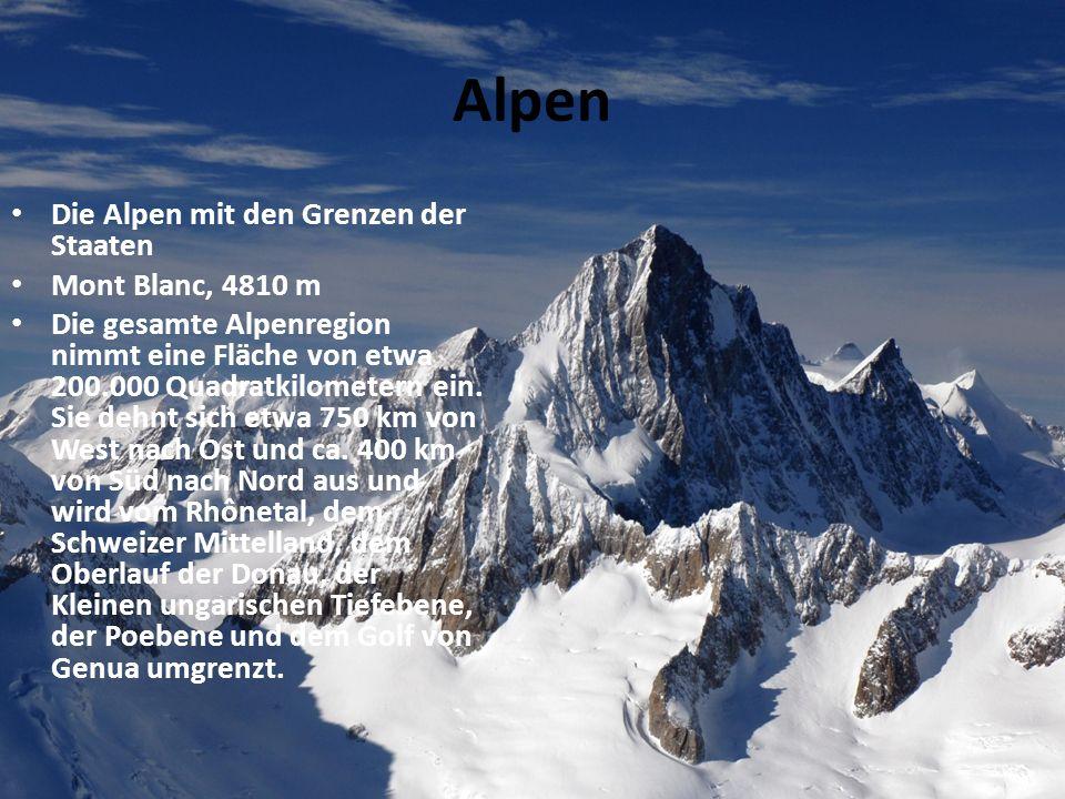 Alpen Die Alpen mit den Grenzen der Staaten Mont Blanc, 4810 m