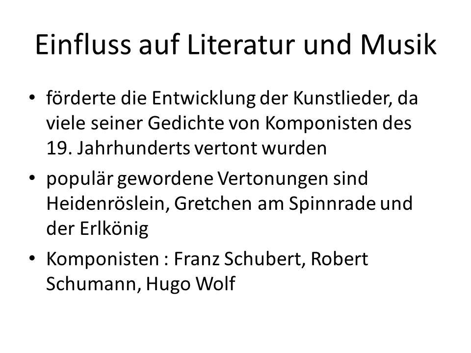 Einfluss auf Literatur und Musik