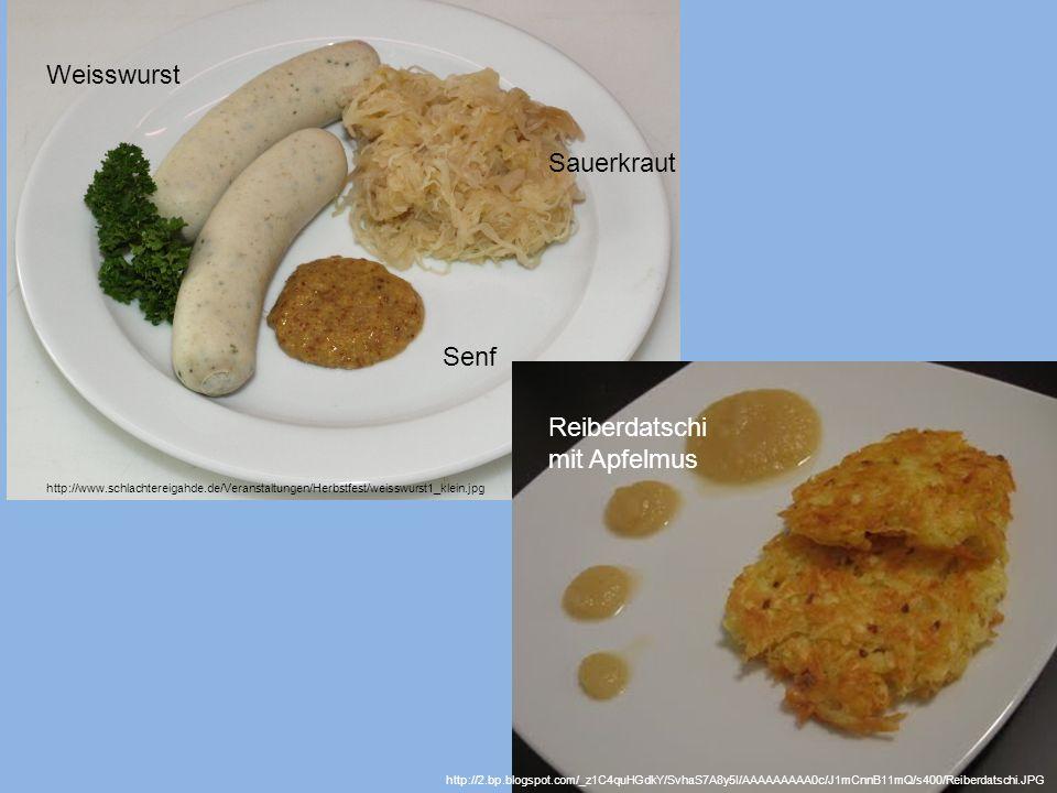 Weisswurst Sauerkraut Senf Reiberdatschi mit Apfelmus
