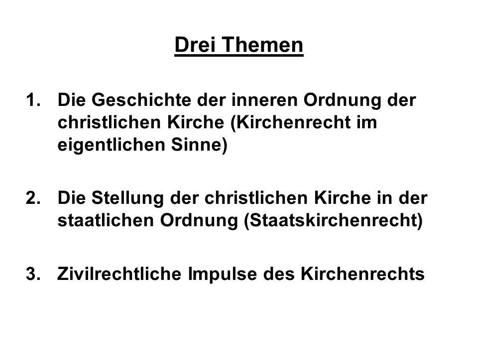 Drei ThemenDie Geschichte der inneren Ordnung der christlichen Kirche (Kirchenrecht im eigentlichen Sinne)