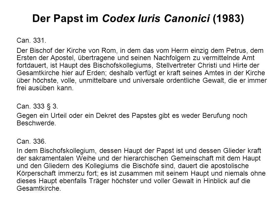 Der Papst im Codex Iuris Canonici (1983)