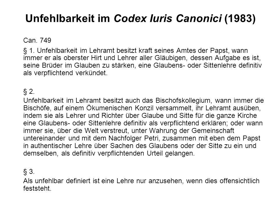 Unfehlbarkeit im Codex Iuris Canonici (1983)