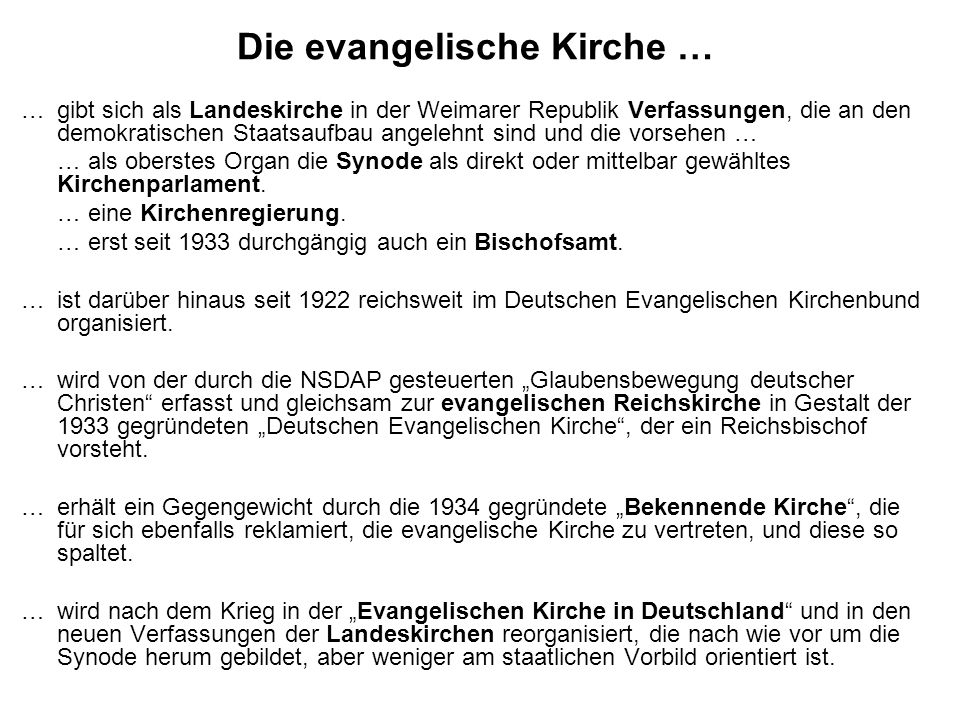 Die evangelische Kirche …