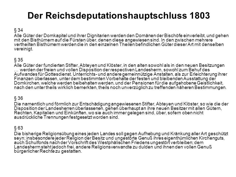 Der Reichsdeputationshauptschluss 1803