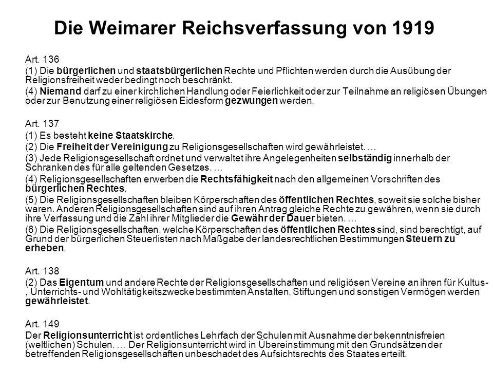 Die Weimarer Reichsverfassung von 1919