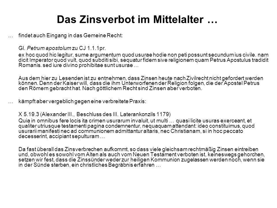 Das Zinsverbot im Mittelalter …
