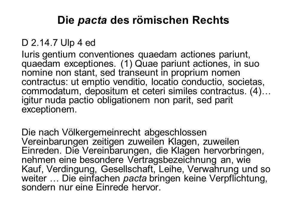 Die pacta des römischen Rechts
