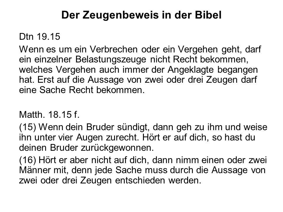 Der Zeugenbeweis in der Bibel