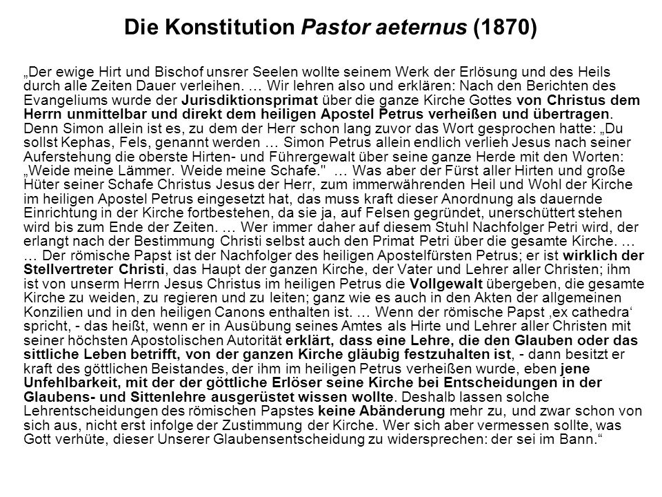 Die Konstitution Pastor aeternus (1870)