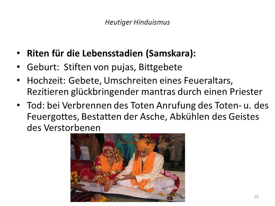 Riten für die Lebensstadien (Samskara):