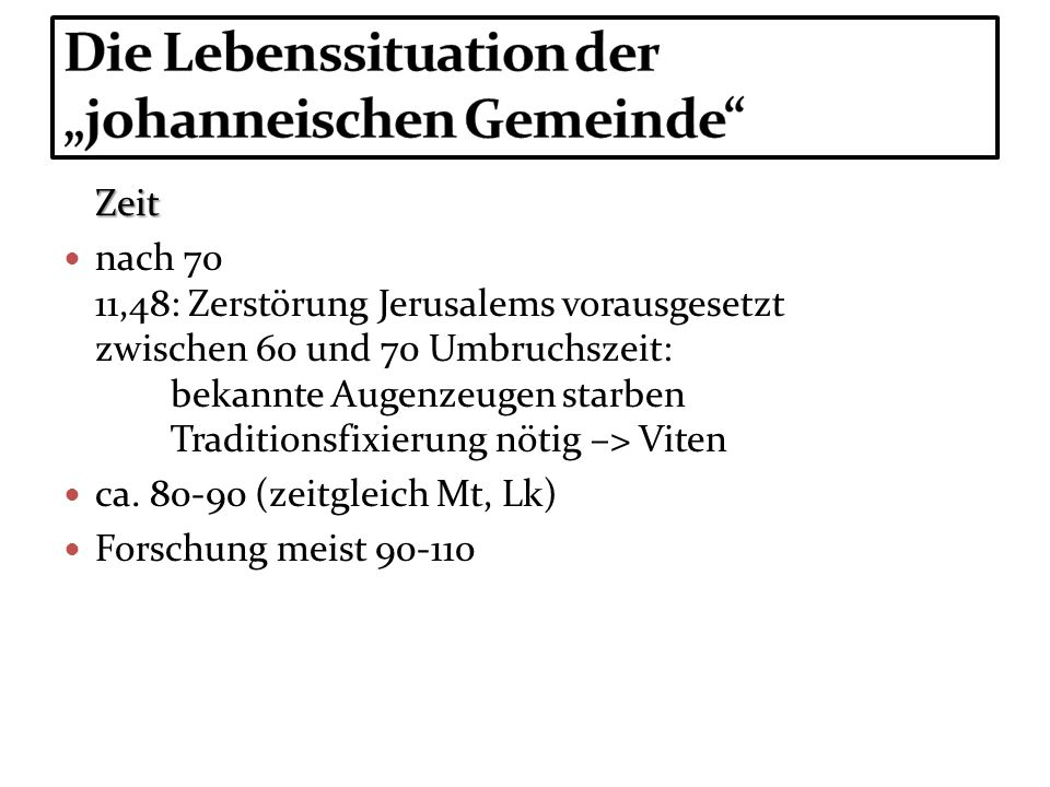 """Die Lebenssituation der """"johanneischen Gemeinde"""