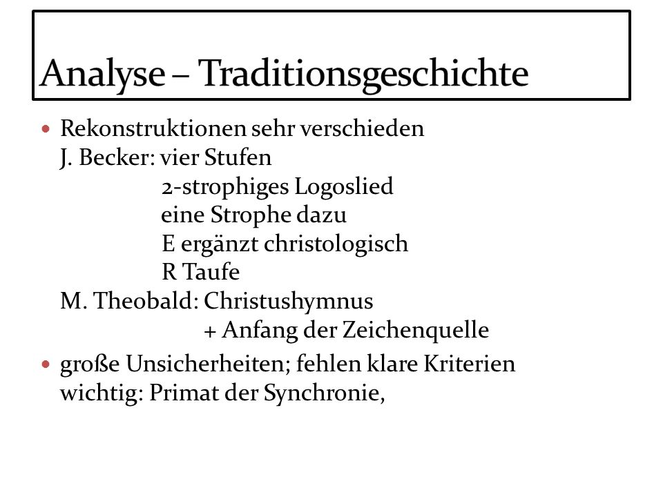 Analyse – Traditionsgeschichte